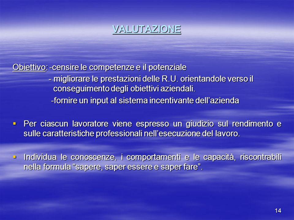 VALUTAZIONE Obiettivo: -censire le competenze e il potenziale