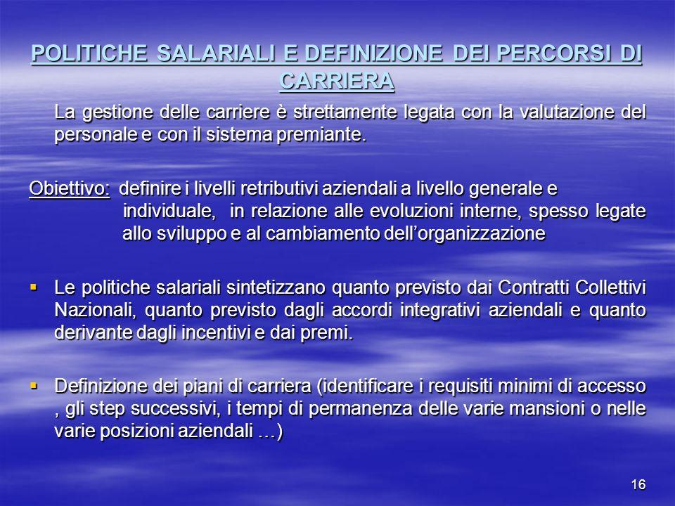 POLITICHE SALARIALI E DEFINIZIONE DEI PERCORSI DI CARRIERA