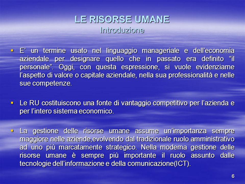 LE RISORSE UMANE Introduzione