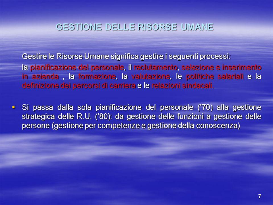 GESTIONE DELLE RISORSE UMANE