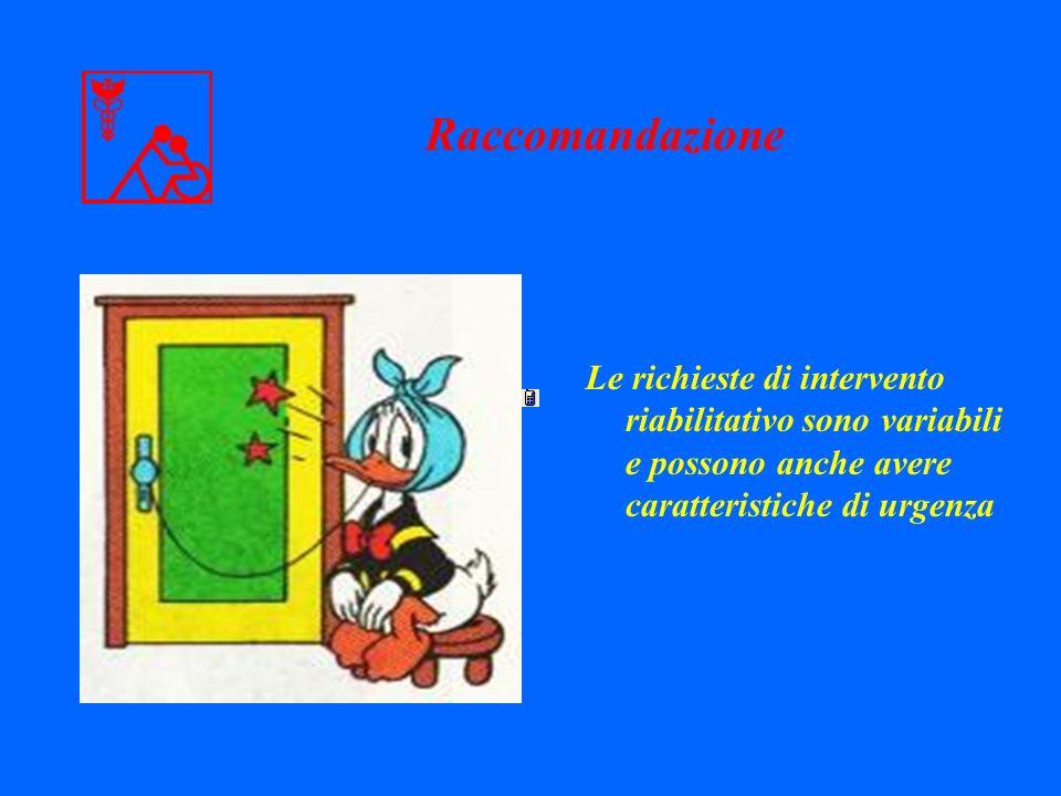 Raccomandazione Le richieste di intervento riabilitativo sono variabili e possono anche avere caratteristiche di urgenza.
