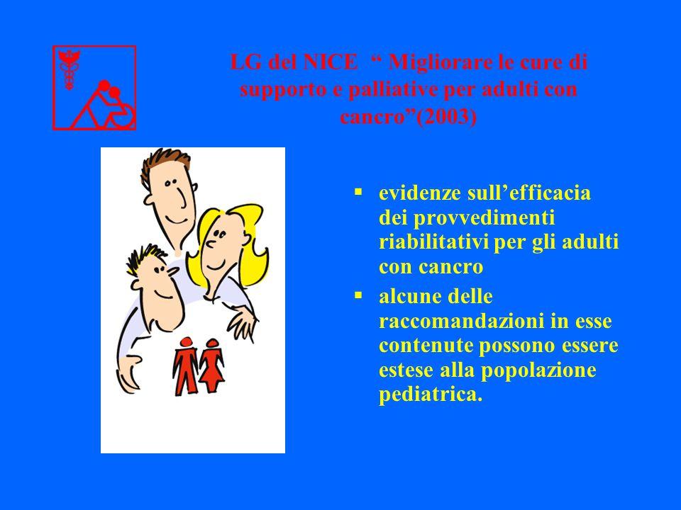 LG del NICE Migliorare le cure di supporto e palliative per adulti con cancro (2003)