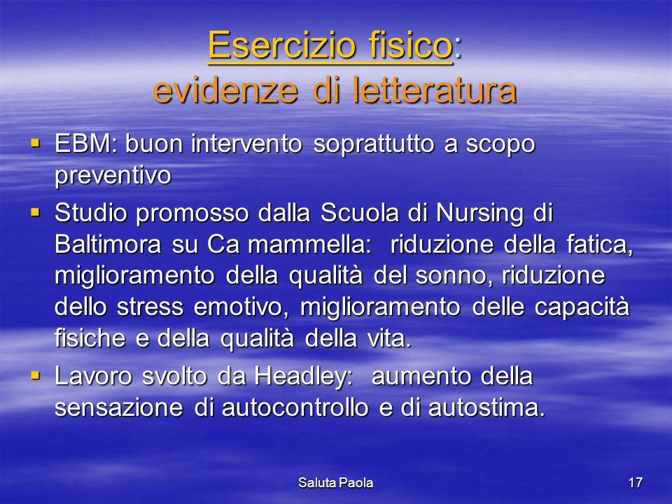 Esercizio fisico: evidenze di letteratura