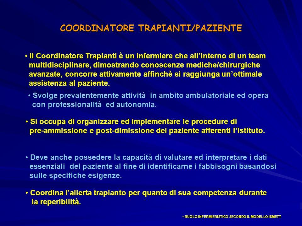 COORDINATORE TRAPIANTI/PAZIENTE