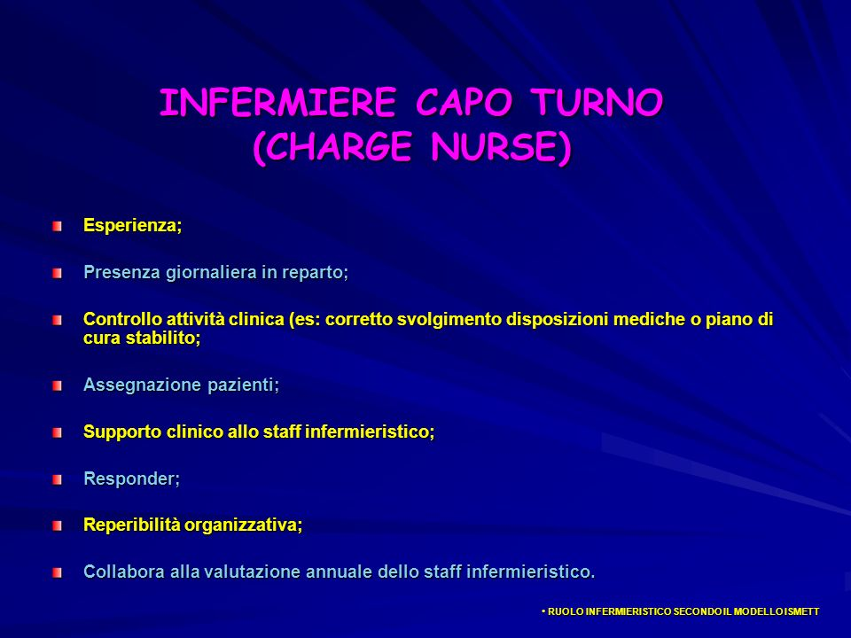 INFERMIERE CAPO TURNO (CHARGE NURSE)