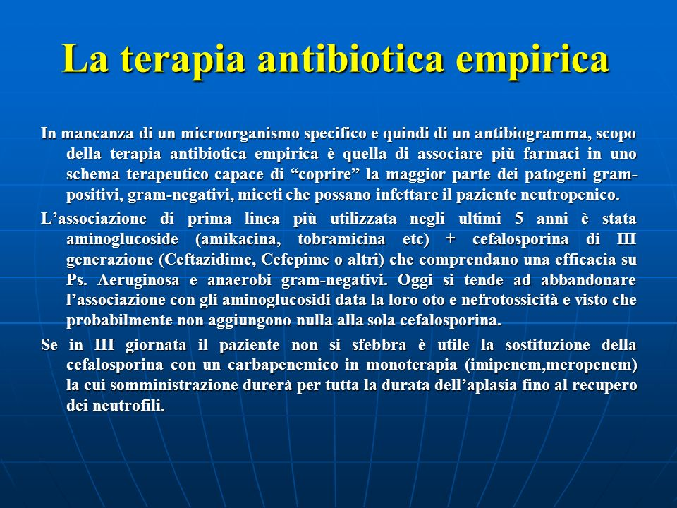 La terapia antibiotica empirica