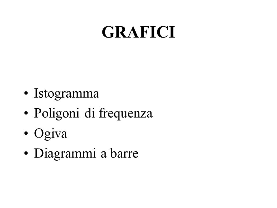 GRAFICI Istogramma Poligoni di frequenza Ogiva Diagrammi a barre