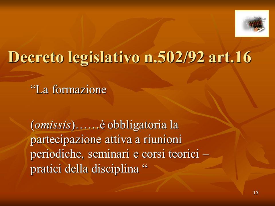 Decreto legislativo n.502/92 art.16