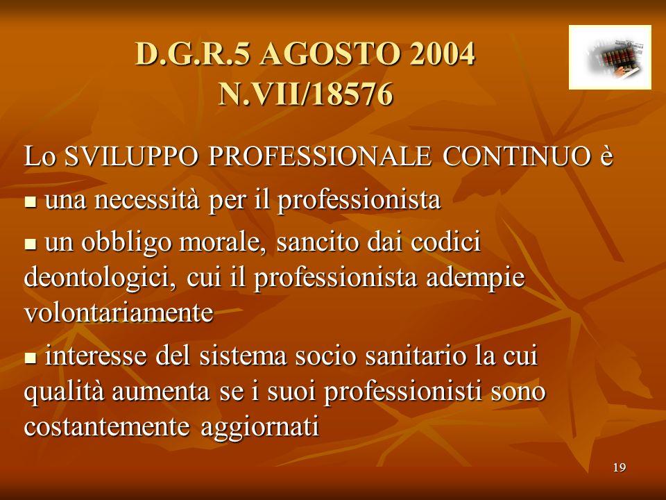 D.G.R.5 AGOSTO 2004 N.VII/18576 Lo SVILUPPO PROFESSIONALE CONTINUO è