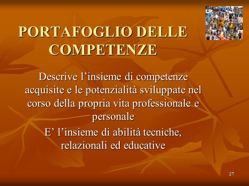 PORTAFOGLIO DELLE COMPETENZE