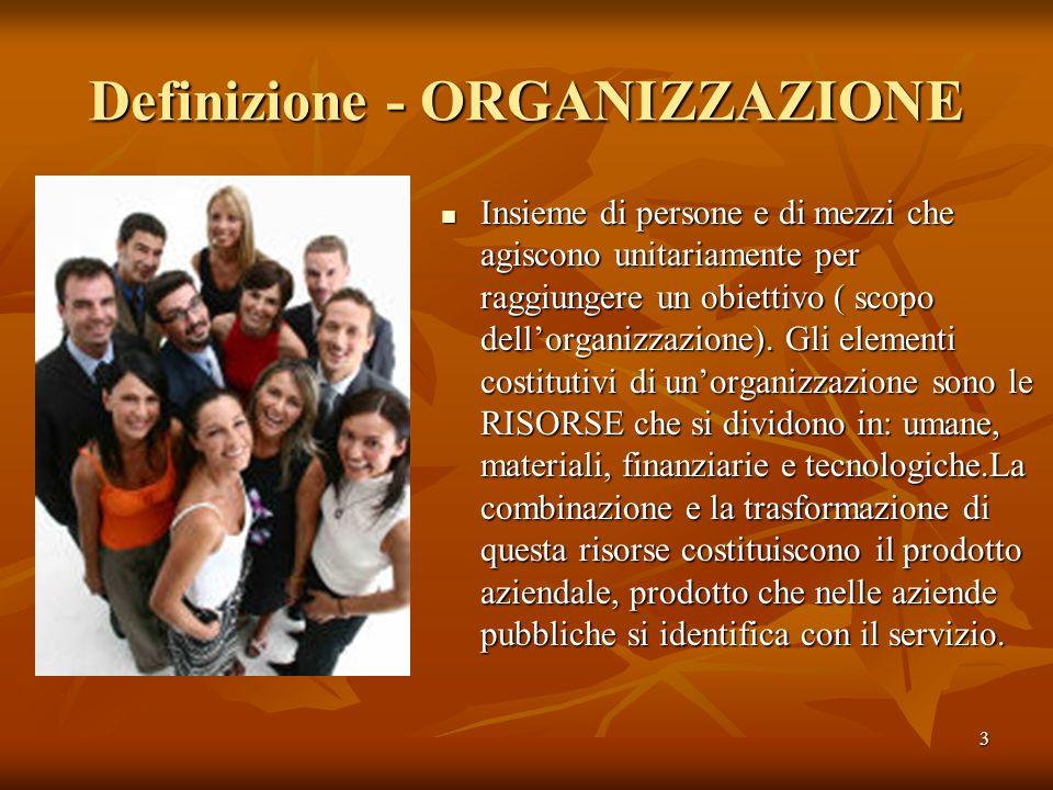 Definizione - ORGANIZZAZIONE