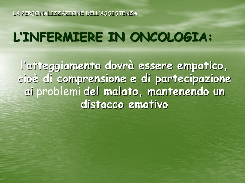 L'INFERMIERE IN ONCOLOGIA: