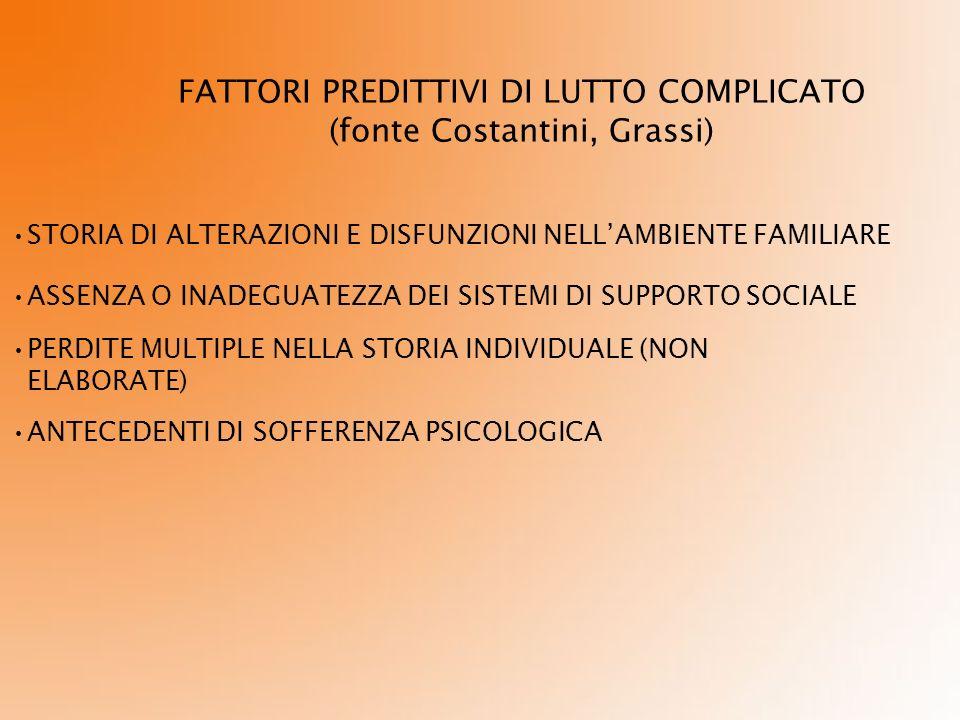 FATTORI PREDITTIVI DI LUTTO COMPLICATO (fonte Costantini, Grassi)