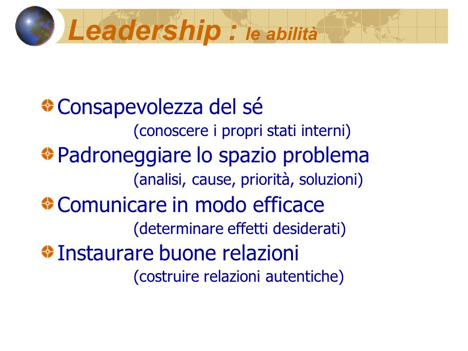 Leadership : le abilità