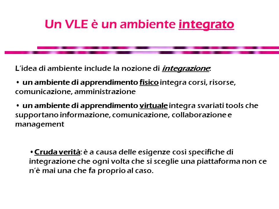 Un VLE è un ambiente integrato