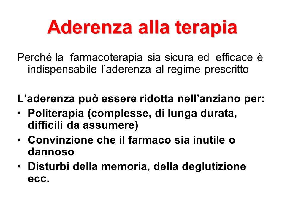 Aderenza alla terapia Perché la farmacoterapia sia sicura ed efficace è indispensabile l'aderenza al regime prescritto.