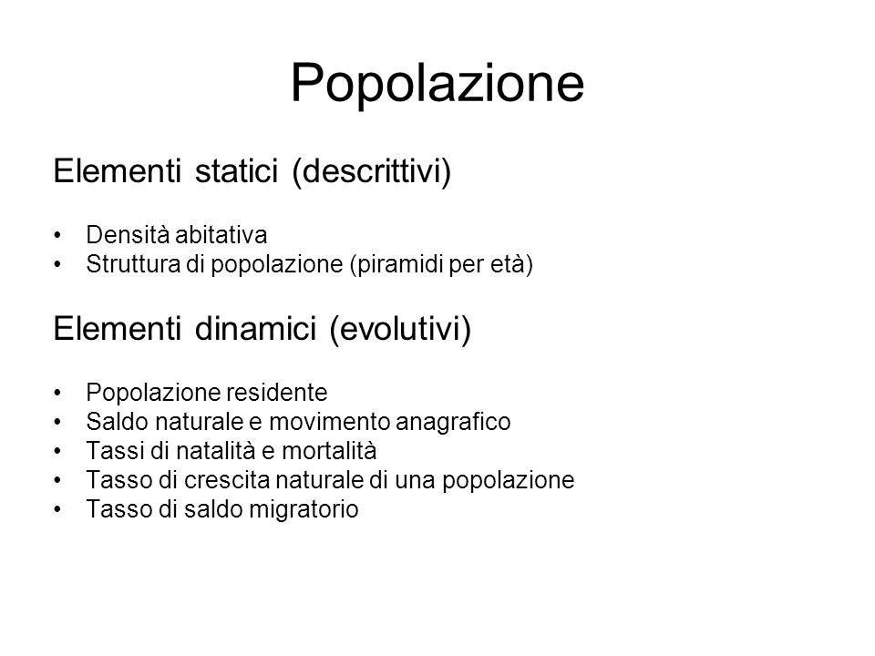 Popolazione Elementi statici (descrittivi)