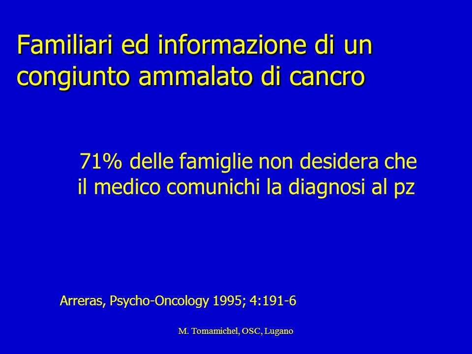 Familiari ed informazione di un congiunto ammalato di cancro