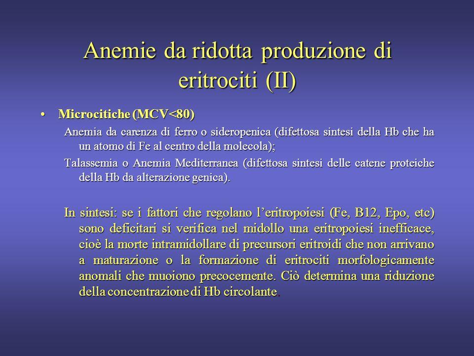 Anemie da ridotta produzione di eritrociti (II)