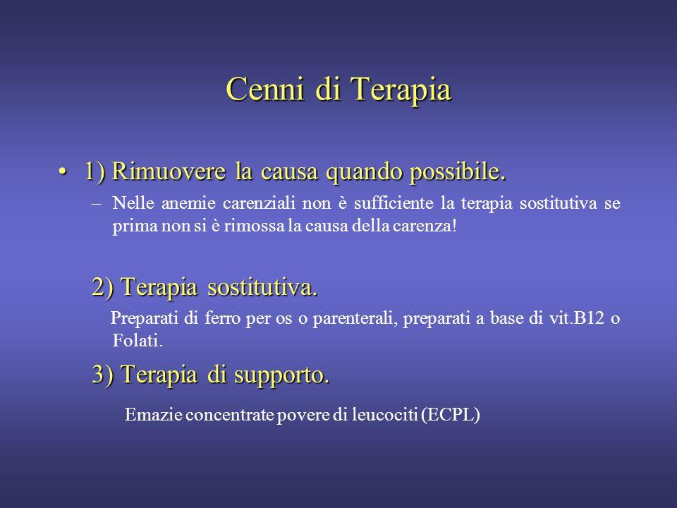 Cenni di Terapia 1) Rimuovere la causa quando possibile.