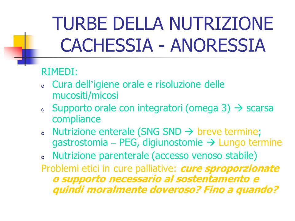 TURBE DELLA NUTRIZIONE CACHESSIA - ANORESSIA