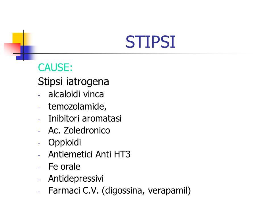 STIPSI CAUSE: Stipsi iatrogena alcaloidi vinca temozolamide,
