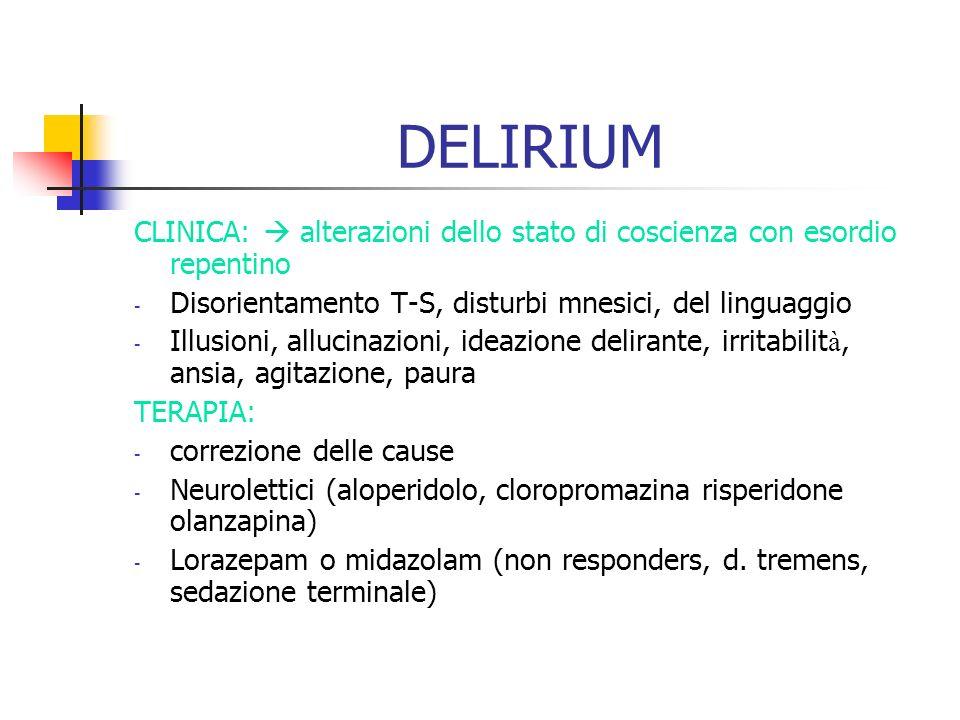 DELIRIUMCLINICA:  alterazioni dello stato di coscienza con esordio repentino. Disorientamento T-S, disturbi mnesici, del linguaggio.