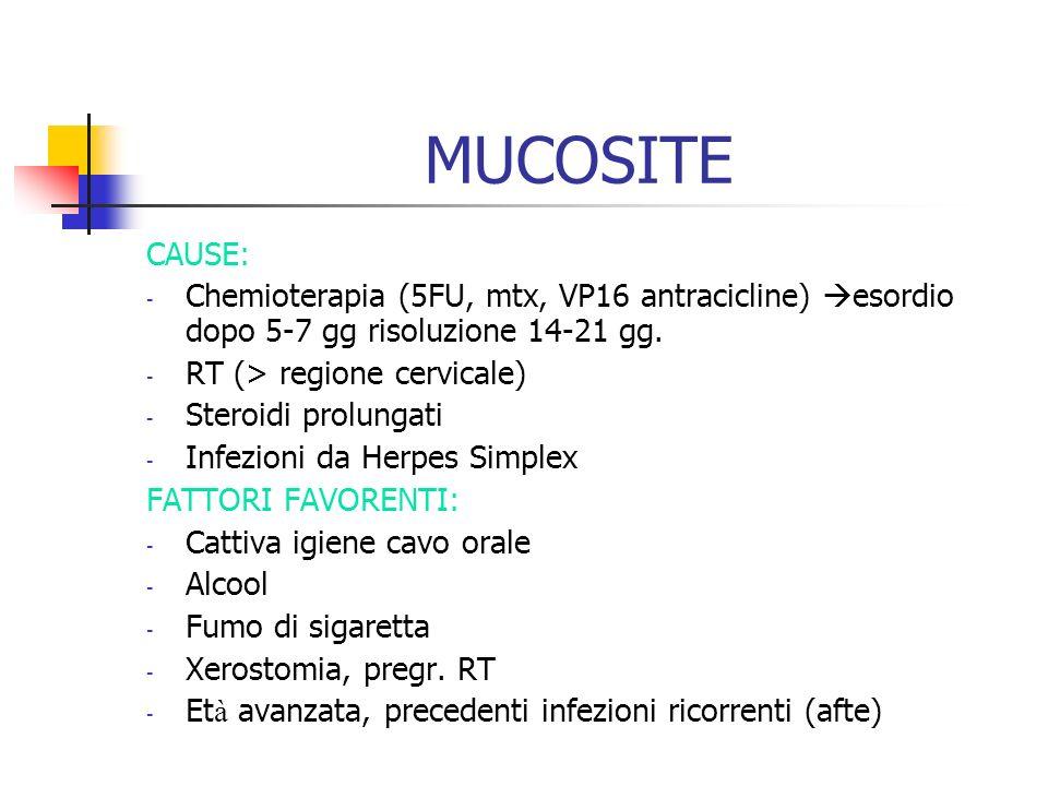 MUCOSITECAUSE: Chemioterapia (5FU, mtx, VP16 antracicline) esordio dopo 5-7 gg risoluzione 14-21 gg.