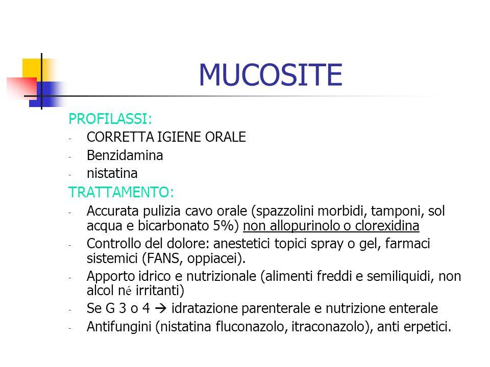 MUCOSITE PROFILASSI: TRATTAMENTO: CORRETTA IGIENE ORALE Benzidamina