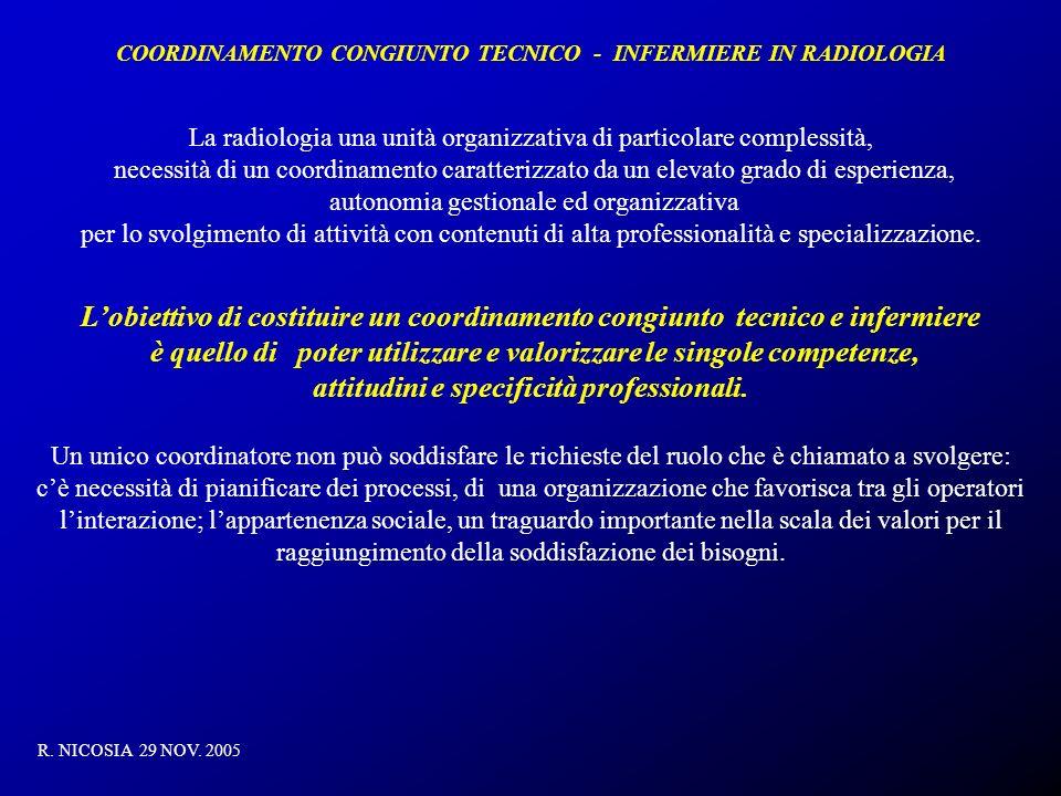 COORDINAMENTO CONGIUNTO TECNICO - INFERMIERE IN RADIOLOGIA