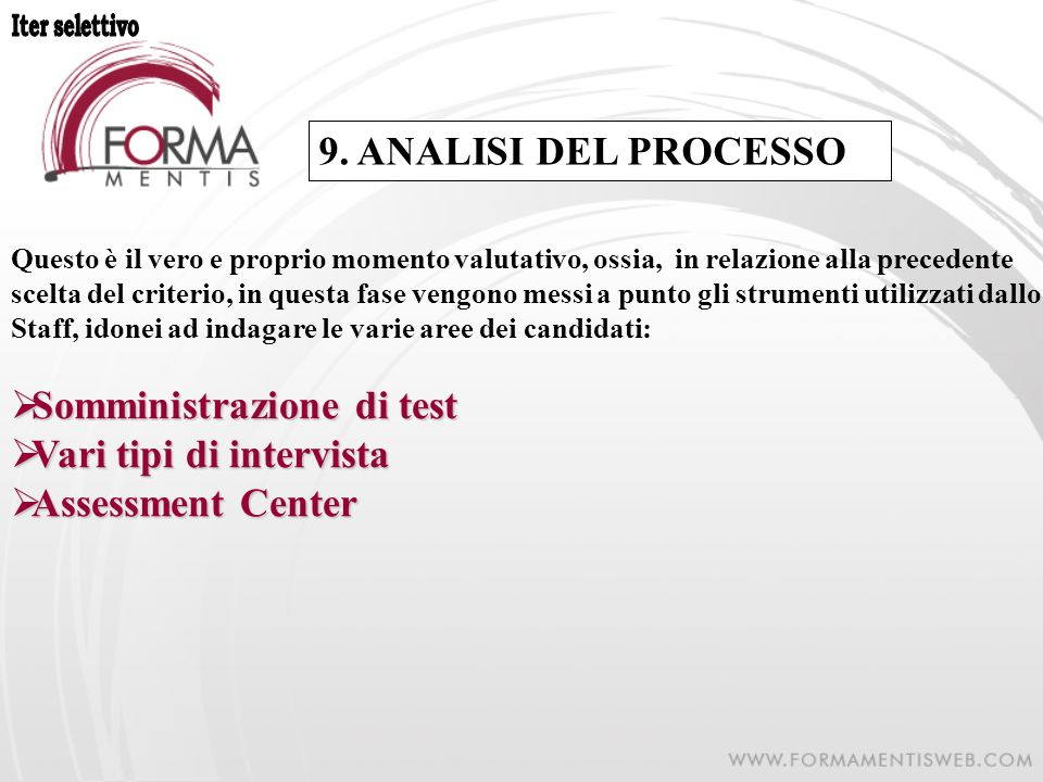 Somministrazione di test Vari tipi di intervista Assessment Center