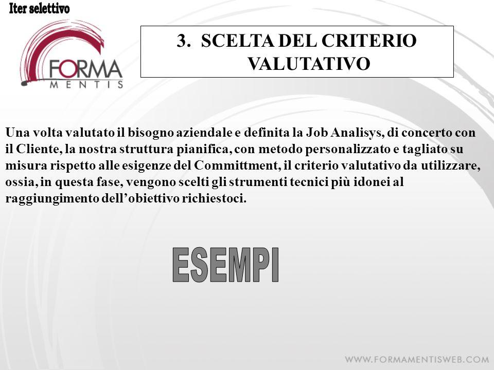 3. SCELTA DEL CRITERIO VALUTATIVO