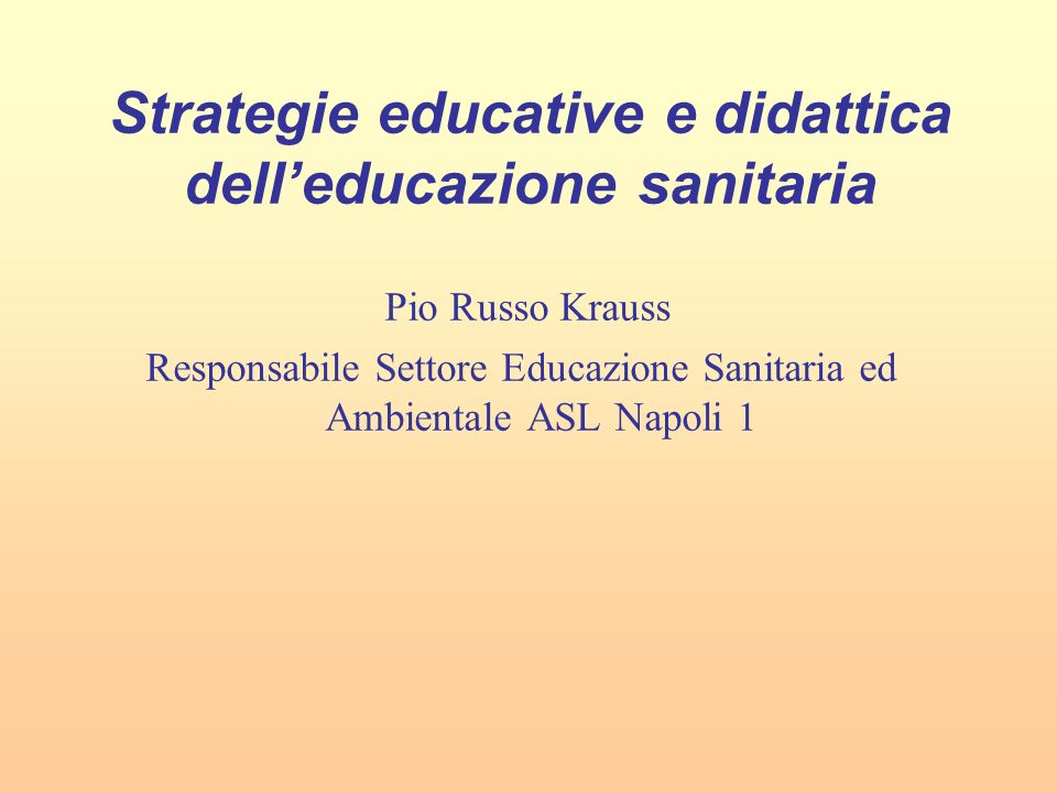 Strategie educative e didattica dell'educazione sanitaria