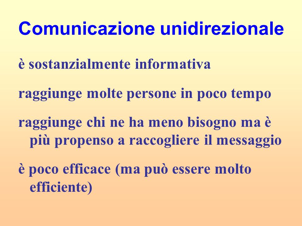 Comunicazione unidirezionale