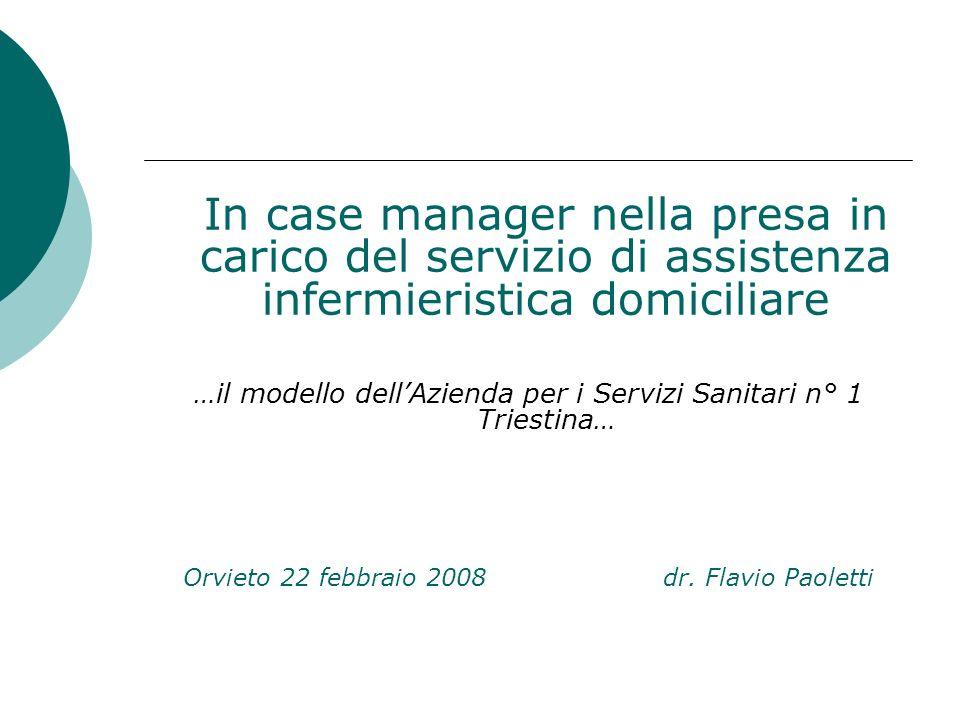 In case manager nella presa in carico del servizio di assistenza infermieristica domiciliare