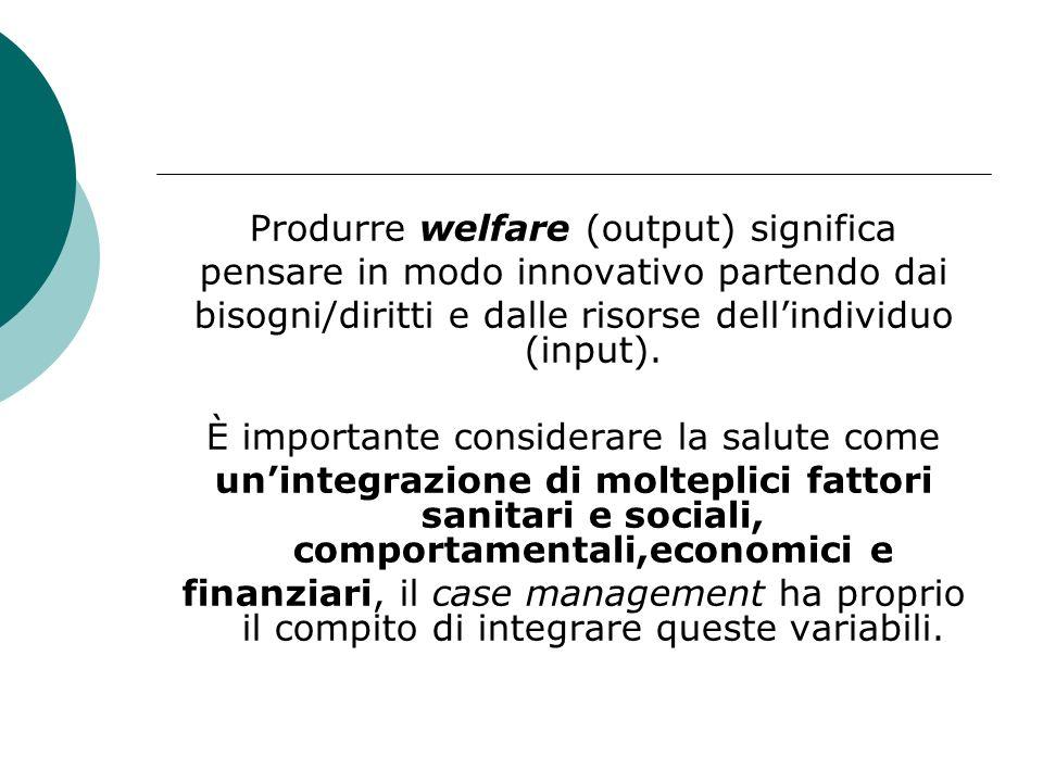 Produrre welfare (output) significa