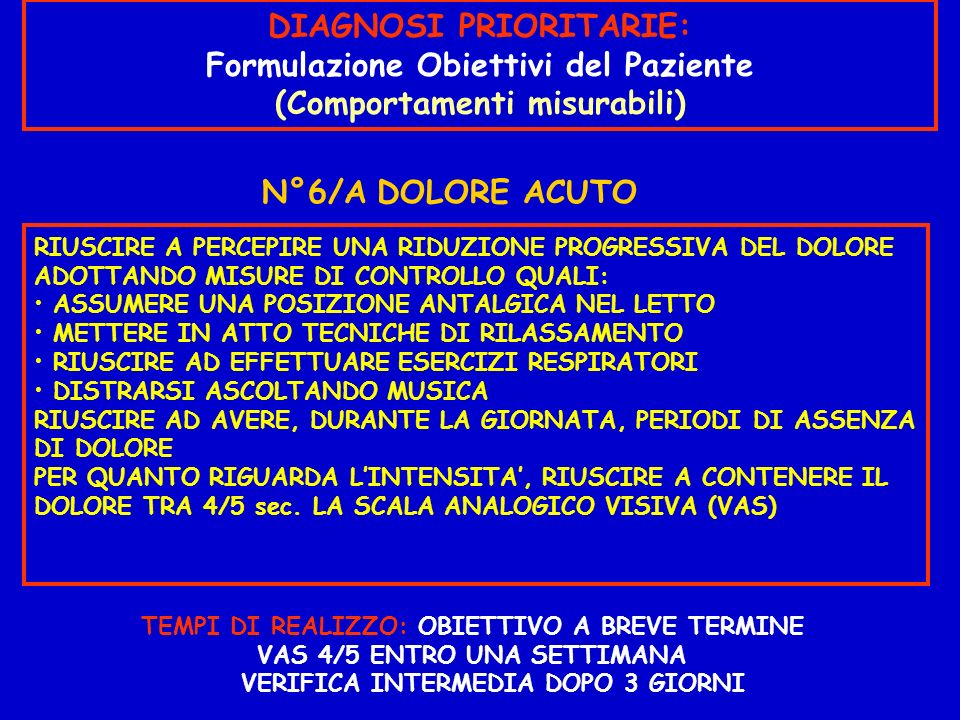 DIAGNOSI PRIORITARIE: Formulazione Obiettivi del Paziente
