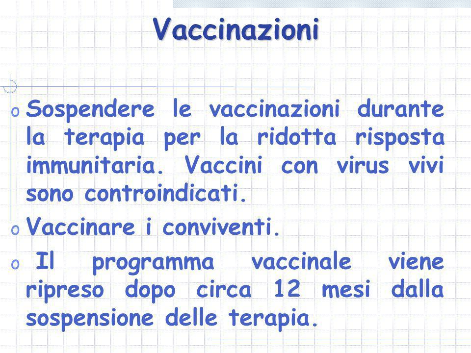 Vaccinazioni Sospendere le vaccinazioni durante la terapia per la ridotta risposta immunitaria. Vaccini con virus vivi sono controindicati.