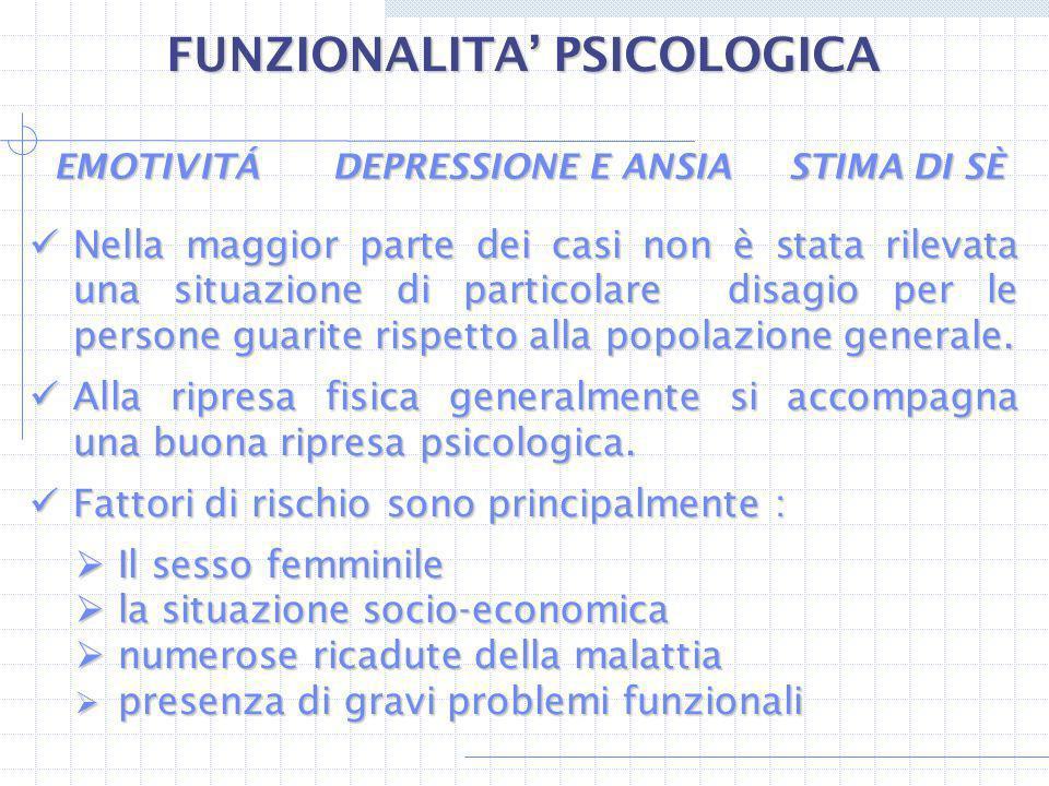 FUNZIONALITA' PSICOLOGICA EMOTIVITÁ DEPRESSIONE E ANSIA STIMA DI SÈ