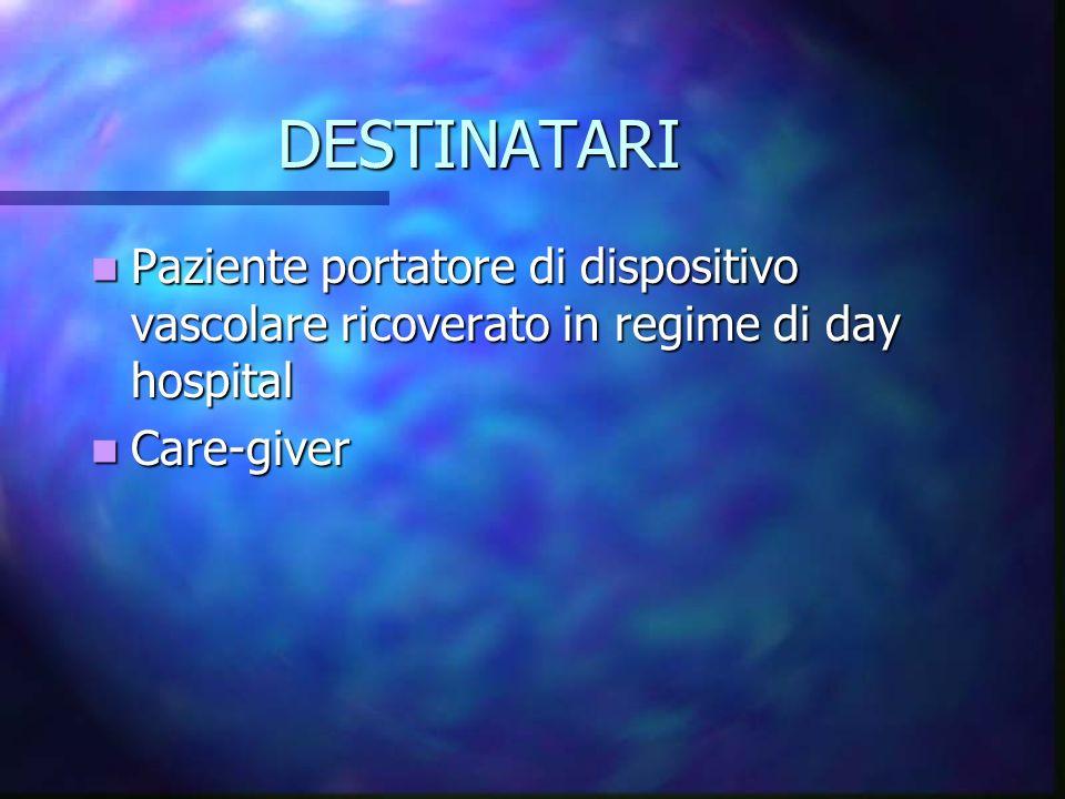 DESTINATARI Paziente portatore di dispositivo vascolare ricoverato in regime di day hospital.