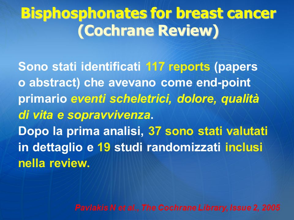 Bisphosphonates for breast cancer (Cochrane Review)