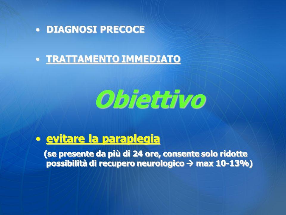 Obiettivo evitare la paraplegia DIAGNOSI PRECOCE TRATTAMENTO IMMEDIATO
