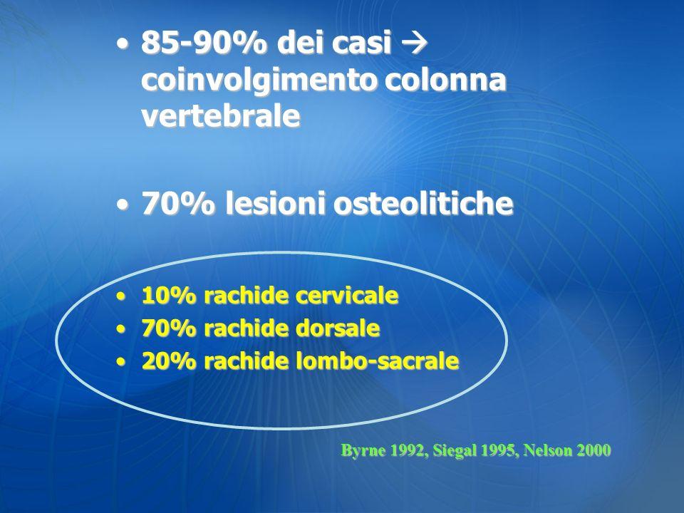 85-90% dei casi  coinvolgimento colonna vertebrale