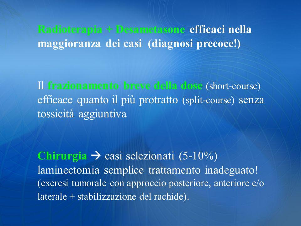 Radioterapia + Desametasone efficaci nella maggioranza dei casi (diagnosi precoce!)