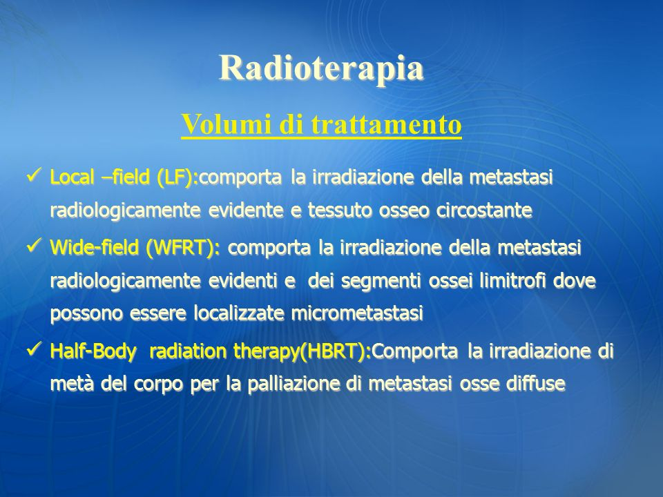 Radioterapia Volumi di trattamento