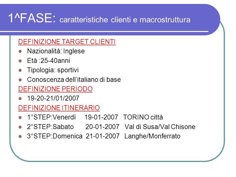 1^FASE: caratteristiche clienti e macrostruttura