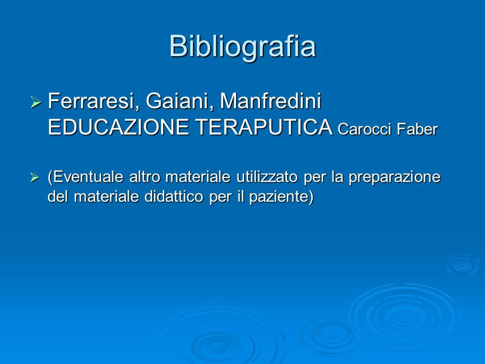 Bibliografia Ferraresi, Gaiani, Manfredini EDUCAZIONE TERAPUTICA Carocci Faber.