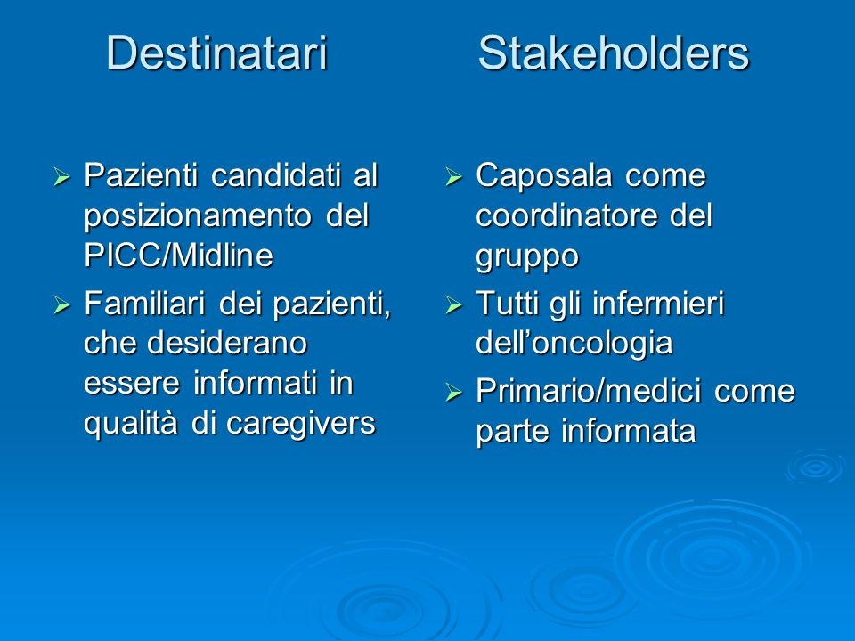 Destinatari Stakeholders