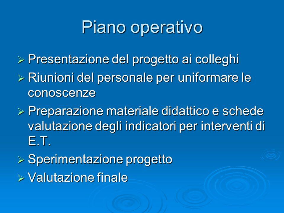 Piano operativo Presentazione del progetto ai colleghi