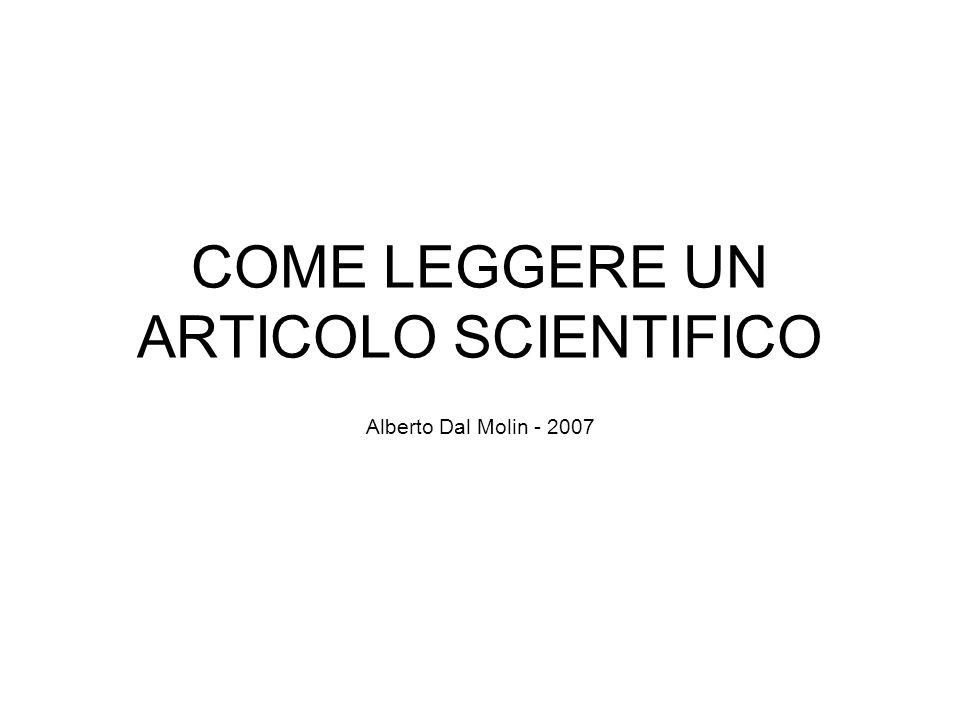 COME LEGGERE UN ARTICOLO SCIENTIFICO